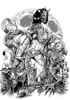 Zombie girl black and white by WacomZombie