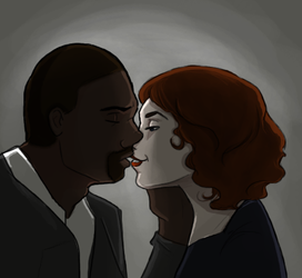 30 D OTP Challenge JohnxAlice, Day 5: Kissing by wolf-pirate55