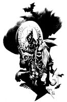 Mignola Batman Hellboy inks by ronsalas