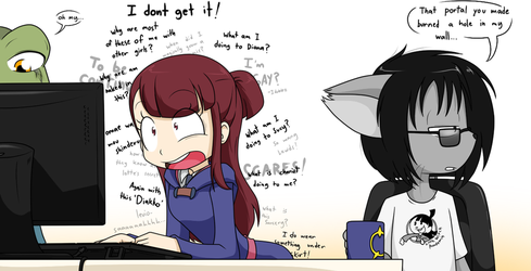 Akko uses the internet by Sandwich-Anomaly