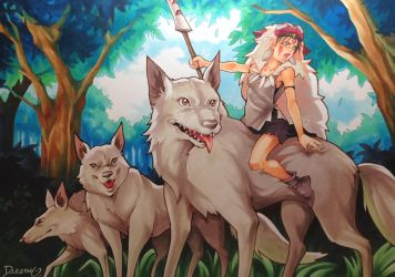 Mononoke and her wolves by Sophie-Dreamy