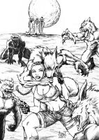 Tomb Raider vs Werewolves by DW-DeathWisH