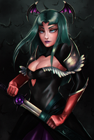 morrigan with a sword by Pantalewns