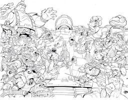 30th anniversary Tmnt variant Cover Inks by TonyKordos