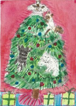 Naughty  Cats  Christmas tree  aceo watercolor by tulipteardrops
