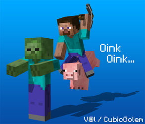 Minecraft Render : Oink Oink... by CubicGolem