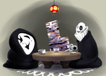Gaster and Uboa playing Jenga by MadCookiefighter
