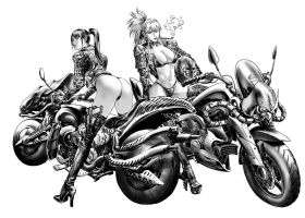 Motorcycle girl by azazel1944