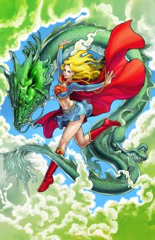 Super Girl and Dragon - Color