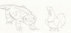 Bearded DRAGON + Chicken! by GECKO-Nuzlockes