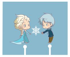 Elsa and Jack with Snowflake by renveriouz