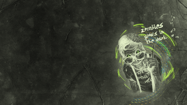 Wallpaper Zombie glowing in the dark xD by didac03