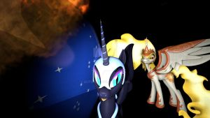 Daybreaker and Nightmare Moon being silly :3