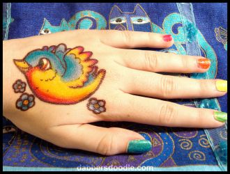 Rainbow Bird Sharpie Tattoo by DablurArt
