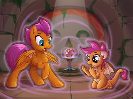 Sphere of swap: Smolder and Scootaloo by Sirzi