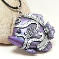 purple steampunk angel fish by DesertRubble