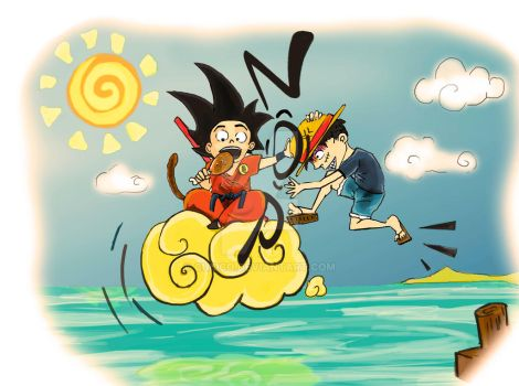 Goku vs luffy by Cubico