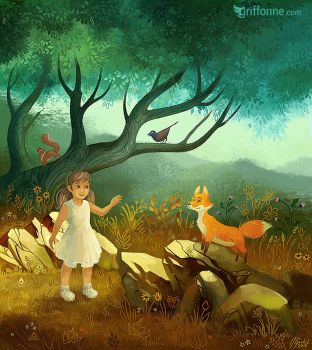 Girl and Fox by joanniegoulet