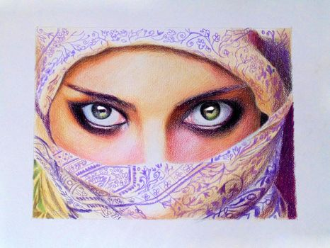 Stare -- Derwent artists pencils on paper. by f-a-d-i-l