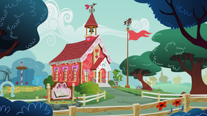 Ponyville Schoolhouse Background by tamalesyatole