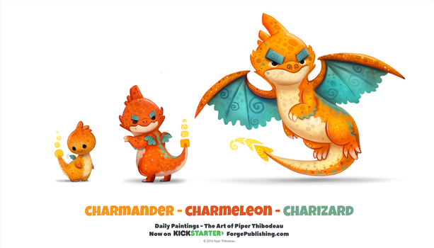 Daily 1318. Charmander/ Charmeleon/ Charizard by Cryptid-Creations
