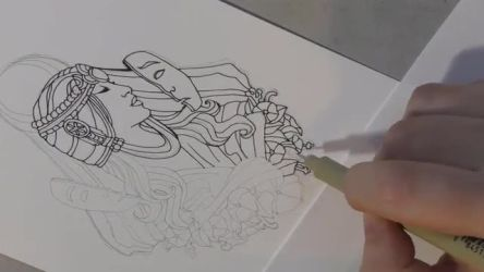 Time Lapse - Inking Lady of September Pin Design