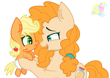 Mlp Pear Butter And Applejack by CloudySunshineYT