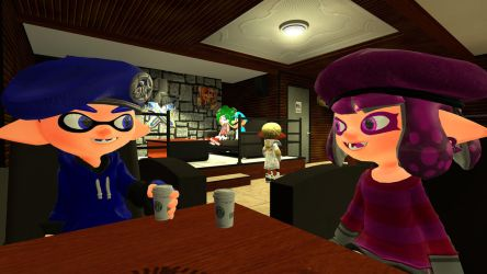Rampage and Sherry in Coffee shop by AgentAndrew