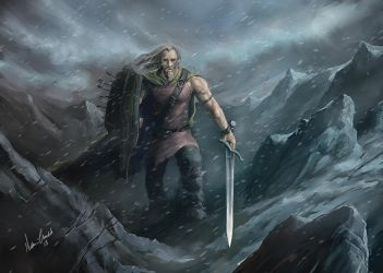 Barbarian in the mountains by digitalartaficianado