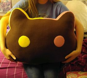 Giant Cookie Cat plush pillow by icedragonsheart