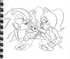Request: Sonic and Sally Eating Pizza by Chauvels