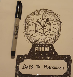 Inktober Day 14: Clock by karutimburtonfan