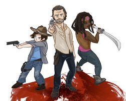 Rick, Carl, and Michonne by beanclam