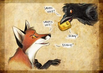 Fox and Raven by Culpeo-Fox