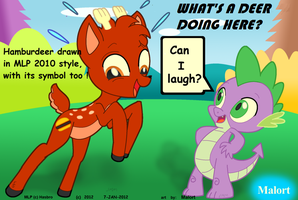 mlp spike dragon and a deer by MalortComics785