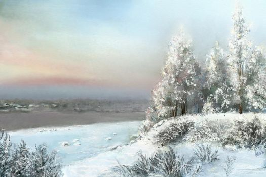 Landscape.Winter river.ArtRage by alartstudio