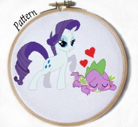 Rarity and Spike cross stitch pattern mlp by JuliefooDesigns