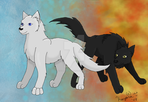 Fire and Ice Wolves by QueenKayara
