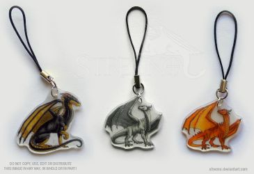 3 Dragon Mobile Charms by Strecno