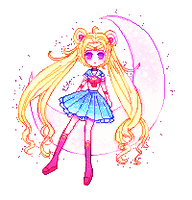 Sailor Moon on the Moon-PIXEL by kioler