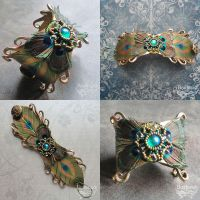 Hera's Cuff Beaded and Feathered Leather Cuff by Beadmask