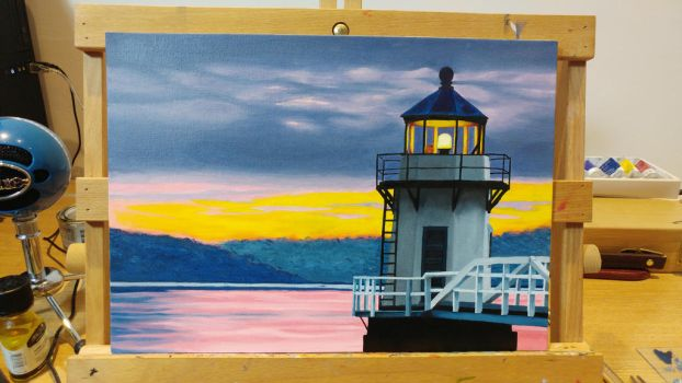 Lighthouse at Dawn WIP (part 5)  by MistressJainali