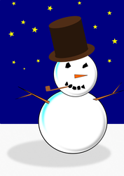 Mr. Snowman at Night, v2.0 by M-Jae