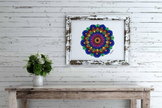 Scratched Wood frame mandala by KALgraphics