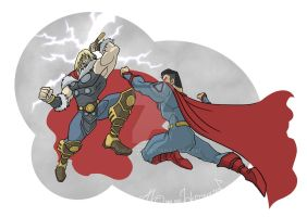 Thor V Superman by vdwjohn