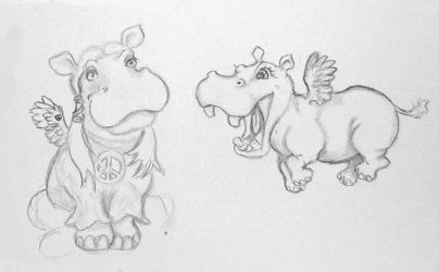 Winged and Hippy Hippos by EmpressIllyria