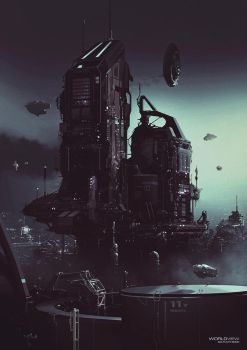 Platform Structure - Worldview Sci-Fi Art Book by JamesLedgerConcepts