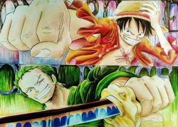 Luffy and Zoro, One Piece by gonzalo17