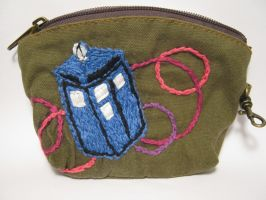 Embroidered TARDIS Coin Purse by TheCrimsonCrow