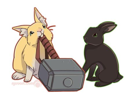 thor and loki bunnies by alienfirst